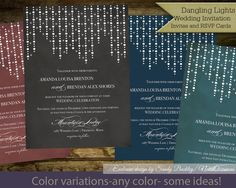 String lights Wedding Invitations | Glitter Deco Lights Wedding Invitations Confetti Digital Printable Files Choose Background color by NotedOccasions