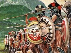 Greek hoplite warrior's line up in a phalanx. ~ the phalanx would be much tighter than shown in the illustration with each shield over lapping its neighbour, but the artist has opened it up a bit to show detail that would otherwise go unseen. Like the shield fronts of the two foreground shields and the armour and lack of pants on the 2nd warrior on the right.