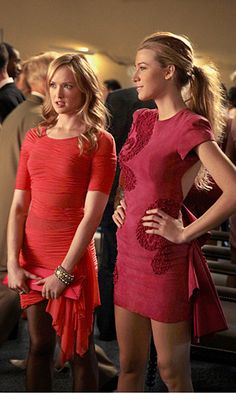 """Charlie Rhodes/Ivy Dickens and Serena van der Woodsen wearing Marchesa at the pink party in the episode """"Pretty in Pink""""....."""