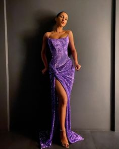 Bling Sheath Spaghetti Straps Purple Long Prom/Evening Dress Split Front sold by BeautyLady. Shop more products from BeautyLady on Storenvy, the home of independent small businesses all over the world. Sequin Prom Dresses, Gala Dresses, Dress Outfits, Evening Dresses, Dress Up, Purple Evening Dress, Long Purple Dress, Purple Prom Dresses, Purple Sequin Dress