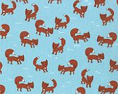 SALE....15% OFF Walk in the Woods from Aneela Hoey for Moda, Foxes in blue bell, 1 yard, more yardage in stock