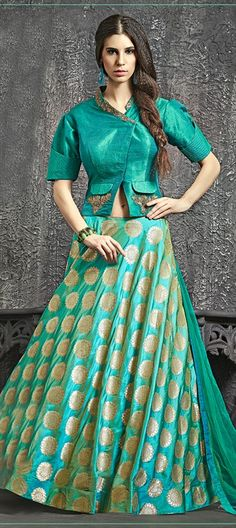 734553 Blue  color family Long Lehenga Choli in Banarasi, Brocade, Raw Dupion Silk fabric with Border, Kasab, Moti, Patch, Zari work .