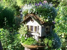 l fairy garden house Mini Fairy Garden, Fairy Garden Houses, Garden Whimsy, Garden Art, Cool Bird Houses, Bonsai, Garden Railroad, Garden Terrarium, Exterior