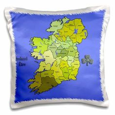 3dRose Colorful green map of all Ireland, the Irish Republic and Northern Ireland with all counties shown. , Pillow Case, 16 by 16-inch
