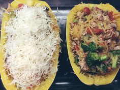 Spaghetti Squash Boats: omit cheese to make paleo/whole30 friendly.