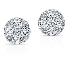 14KT White Gold Diamond Stud Earrings (11,050 ILS) ❤ liked on Polyvore featuring jewelry, earrings, stud earrings, diamond earrings, diamond jewellery, stud earring set and white gold jewelry