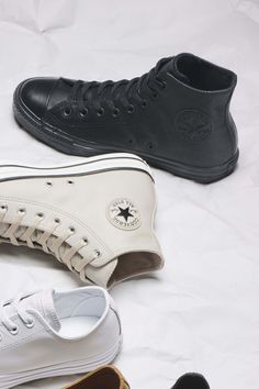 b39dbac06e94 Double-platform studded black leather Converse high tops