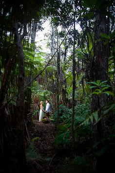 The bride and groom standing in the middle of a rain forest for a wedding portrait.  Top of Koloko Drive in Kona, Hawaii.  www.eyeexpression.com