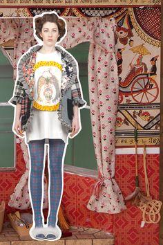 Bay window: Pelmet jacket, Picture Frame T-shirt dress 'Everything But The Kitchen Sink' - Lu Flux Autumn Winter 2012