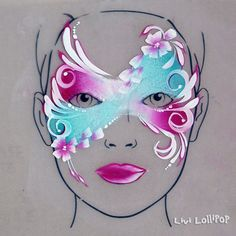 Face-paint-mask Commas and swirls flowers Face Painting Flowers, Adult Face Painting, Face Painting Tips, Face Painting Designs, Body Painting, Painting Tutorials, Makeup Tutorials, Face Paint Makeup, Makeup Art