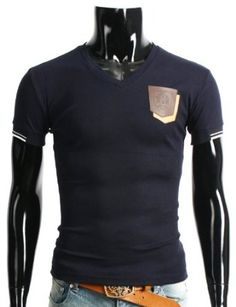 Doublju Mens Casual Double Leather Pocket Short sleeve V-Neck T-Shirt (125D)