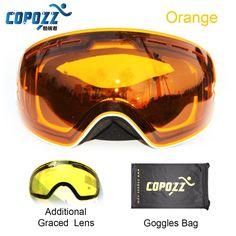 COPOZZ brand ski goggles 2 double lens UV400 anti-fog large spherical glasses skiing men women snowboard goggles GOG-201+Lens