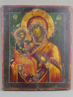 Икона «Пресвятая Богородица Иерусалимская», дерево, левкас, темпера; оклад серебро 84 пробы, Москва, 1740г.; 19х16см