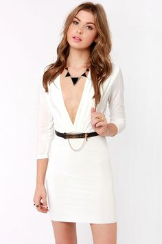 Sexy Plunging Dress - White Dress - Belted Dress - $35.00
