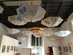 """So many examples of this, it's hard to pick one - in short, hanging umbrellas from the learning space ceiling - with fibreglass """"rock wool) (usually used for roof insulation and v cheap) laid inside them does an amazing job at reducing ambient sound. Each child brings and decorates an old umbrella. So simple."""