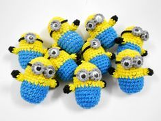 SALE Minion Despicable Me Crochet amigurumi doll toy, key ring, Fob bag, charm 5 cm x 3 cm yellow blue black from Chieu on Etsy. Saved to Epic Wishlist. Crochet Diy, Minion Crochet, Crochet Amigurumi, Amigurumi Doll, Amigurumi Patterns, Crochet Crafts, Crochet Dolls, Crochet Projects, Crochet Patterns