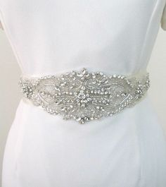 Rhinestone Crystal Beaded  Bridal Sash Wedding  Belt Extra Long Applique