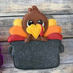 Turkey in a Pot with Sign Area Plaque Cookie Cutter and Fondant Cutter and Clay Cutter - - Thanksgiving Turkey Cookies, Fall Cookies, Iced Cookies, Royal Icing Cookies, Holiday Cookies, Cupcake Cookies, Sugar Cookies, Cookies Et Biscuits, Cupcakes Fall