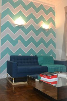 My very own chevron wall. DIY. Dividing my living room from dining room.