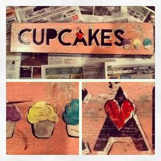 Hand painted Cupcakes  sign ❤.  Debsartisticpainting