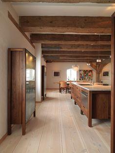 Storage house with luxury apartments, Küchen Design, Home Design, Interior Design, Copenhagen Architecture, Rustic Kitchen, Country Kitchen, Douglas Wood, Kitchen Interior, New Homes
