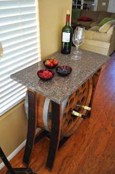 Wine Barrel Table, Wine Rack, and Wine Tasting Table. via Etsy.