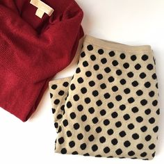 Knit blend polka dot pencil skirt • etcetera Perfect condition Black and Tan knit blend pencil skirt. See third photo for fabric content. Lined. Perfect for day to night looks. Make an offer, no trades :) Etcetera Skirts Pencil