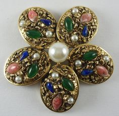 Florenza 1960's Domed Flower Brooch With Faux Pearl Centre