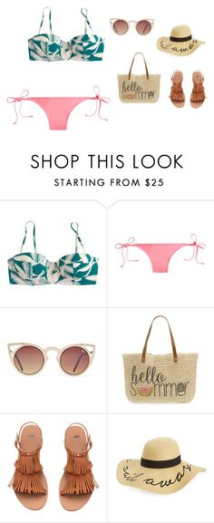 """""""J.CREW SWIMSET"""" by gcstulipsandtennis on Polyvore featuring J.Crew, Quay, Straw Studios, H&M and BP."""
