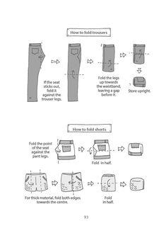 Spark Joy: Marie Kondo - How to fold with Marie Kondo - Marie Kondo Method: Spark Joy Book Tidying Wardrobe Method organisieren konmari Wardrobe Organisation, Diy Organisation, Organising, Clothing Organization, Organizing Tips, Bathroom Organization, How To Fold Shorts, Marie Kondo Methode, Konmari Method Folding