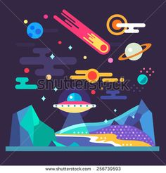 Find Space Landscape Stars Planets Comet Ufo stock images in HD and millions of other royalty-free stock photos, illustrations and vectors in the Shutterstock collection. Space Illustration, Landscape Illustration, Illustrations, Flat Design Inspiration, Vector Graphics, Vector Art, Solar System Poster, Web Design Mobile, Affinity Designer
