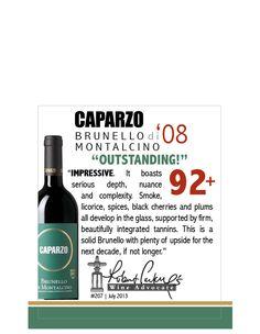 Caparzo Brunello di Montalcino 2008 - Robert Parker's Wine Advocate - 92+ points