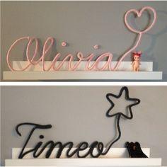 Un prénom ou un mot en tricotin agrémenté d'un joli motif pour une décoration murale parfaite. Choisissez une couleur et indiquez nous un mot ou un prénom pour créer une votre propre décoration murale