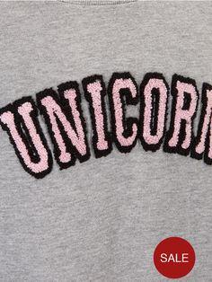 Freespirit Girls Boxy Unicorn Sweater | very.co.uk