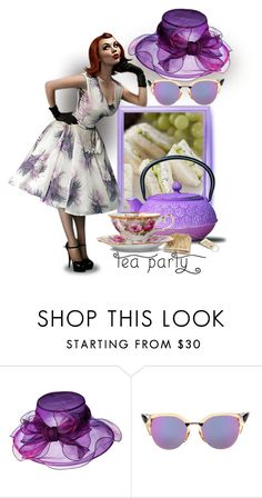 """Summer Hat & Sunnies... Tea Party"" by maryv-1 ❤ liked on Polyvore featuring Fendi and Old Dutch"