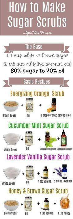 Amazing Remedies Learn how to make sugar scrubs from scratch. SO easy and SO cheap! - Learn how to make sugar scrubs at home by using the ratio. Use sugar to oil, and add in your favorite essential oils! Sugar Scrub Homemade, Sugar Scrub Recipe, Homemade Soaps, Homemade Body Scrubs, Homemade Exfoliating Scrub, Body Scrub Recipe, Homemade Hair, Diy Beauté, Diy Spa