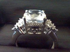 WHITE SAPPHIRE & DIAMOND ENGAGEMENT WEDDING RING + FREE NECKLACE SZ 7 #EXCEPTIONALBUY