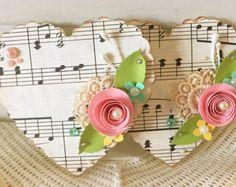 Juego de música papel encaje corazón cutre rosa hecho a mano papel rosa flor adornos vintage de 2