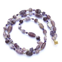 Long Purple Lilac Art Glass Necklace Handmade by ALFAdesigns