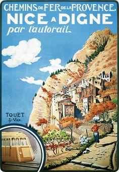 Affiche chemin de fer de la Provence - Nice - Digne - illustration de G. Chanteau - 1935 - France -