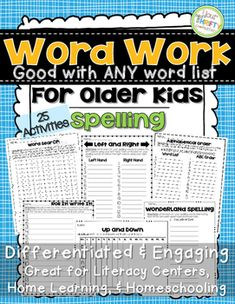 This resource is sure to help out your most struggling spellers. It contains 25 activities that can help students review their spelling words for ANY WORD LIST! It is a great resource for Differentiated Instruction, homework, literary centers, and more.