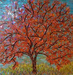 RED TREE 2 by Larissa Strauss, Glass mosaic, 16' x 16, 2007, Sold.