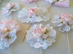 Pretty Pink Cupcake Toppers- set of 7 for Easter or Spring. $14.00, via Etsy. Paper Flowers Craft, Flower Crafts, Paper Crafts, Diy Crafts, Balloon Decorations, Birthday Decorations, Birthday Calendar, Pink Cupcakes, Paper Fans