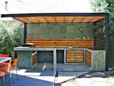 quinchos modernos - Buscar con Google Pergola, Gazebo, Outdoor Rooms, Outdoor Living, Parrilla Exterior, Balkon Design, Bbq Kitchen, Home Deco, Exterior Design