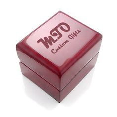 Custom Engraved Cherry Engagement Ring Box - Wood - Cherry with White Leather Interior  Use your own design or we can create one for you at no extra charge!