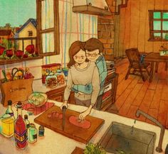 """The Korean artist Puuung captures love perfectly with his artwork, expressing simple, yet important aspects of loving relationships. On his Grafolio account which showcases his illustrations, he says, """"Everyone can relate to love and the best thing about love is that it radiates in even the smallest things in life. I'm taking these little pieces of life and recreating its hidden messages on my """"Love is…"""" illustrations."""""""
