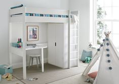 Modena High Sleeper Bed Frame with Desk & Compact Wardrobe High Sleeper With Wardrobe, High Sleeper With Desk, Bed With Wardrobe, High Sleeper Bed, Home Decor Styles, Cheap Home Decor, Small Room Bedroom, Bedroom Decor, High Bed Frame