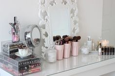 Vanity girly room pink decor makeup white mirror dresser