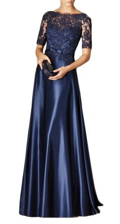 Half Sleeve Off the Shoulder Floor Length Lace Chiffon Dark Navy Long Mother of the Bride Dresses Formal Gown 11050 #prom #motherdress #prom2017 #wedding #gown #dress #macloth