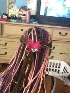 Pink, purple and brown box braids. #girlie